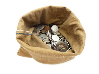 money coins in bag