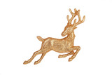 Leaping reindeer glitter Christmas ornament – isolated on white poster