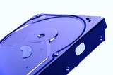 External casing of hard disc drive in blue tone  poster