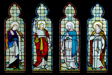 Four panel stained glass window from English church