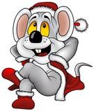 Christmas Mouse - cartoon illustration poster