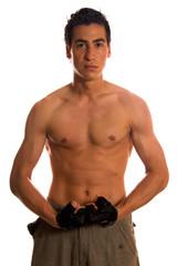 Muscular builder man