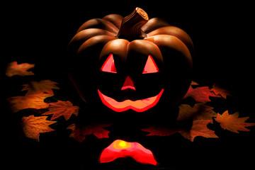 Halloween pumpkin on black.