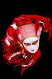 Red Feathered Venetian Mask poster
