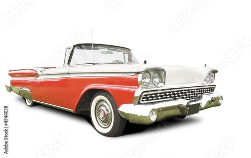 Foto Spatwand Vintage cars isolated american 50s car