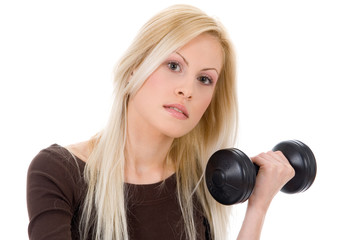 young blond lady exercise