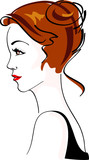 Charming Woman, hairdress. Color vector illustration poster