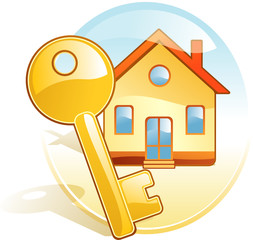 Key, new home, realty. Stylized vector icon