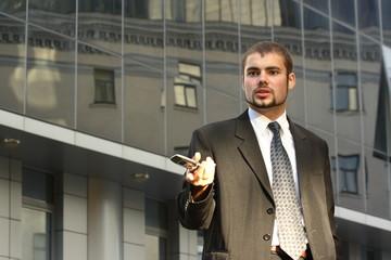 Speaking businessman