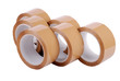 A group of brown packaging tapes on white background