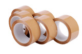 A group of brown packaging tapes on white background poster