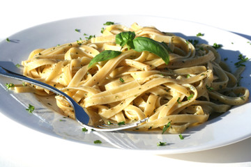Fettucine with a pesto parmesan sauce