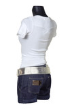 White vest and jeans shorts poster