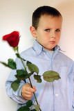 shy boy with flowers  poster