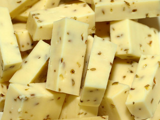 Gouda cheese with cumin seeds