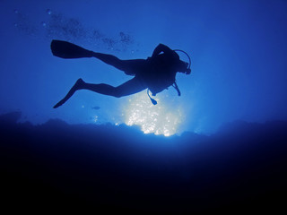 Scuba diver from below
