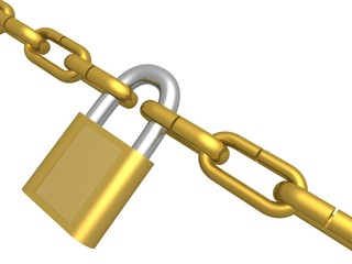 Hanging circuit closed on the lock. 3D image