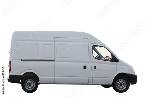 Plain white delivery van isolated on white background