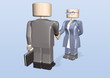3d toy business man meeting bizness woman