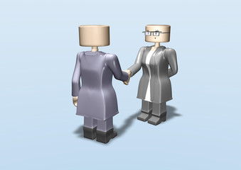 3d toy business woman meeting