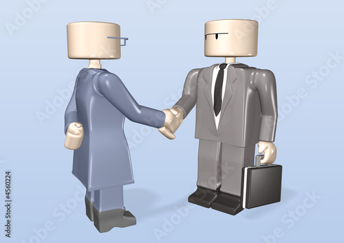 3d toy business woman meeting bizness man