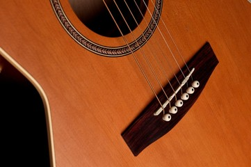 closeup details of an acoustic wooden guitar