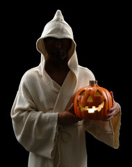 Hooded Man With Jack-o-Lantern