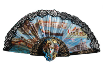 The Venetian mask with a fan
