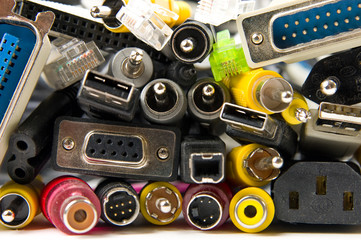 Lots of different electronic connectors and plugs