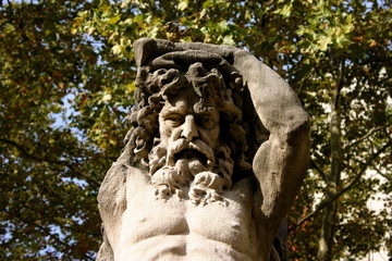 Architectural Detail of caryatid sculpture of man