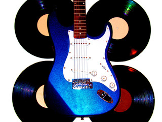 High Key electric guitar and vinyl record background