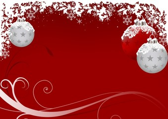 Xmas Red Frost - illustration as christmas background