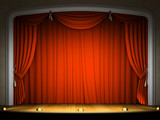 Empty stage with red curtain in expectation of performance poster