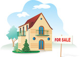 Family house with sign For sale. Realty. Vector illustration