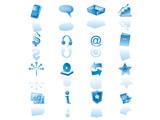 light blue website icon set