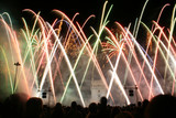 Fototapety colored fireworks in the night in lisbon near tower belem, portu