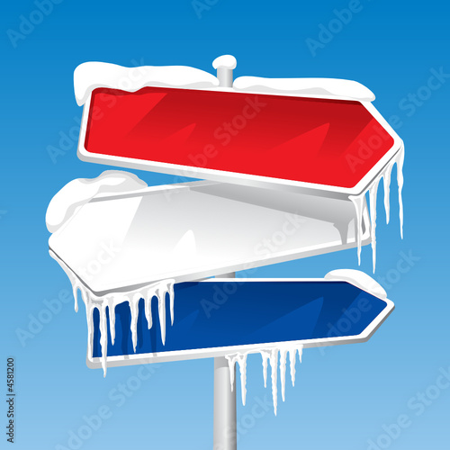 Frozen Signpost (editable vector or XXL jpeg image)