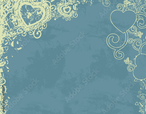 blue floral background decoration with heart (vector format)