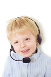 Adorable baby with headset poster