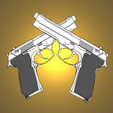 3d guns with spotlight background poster