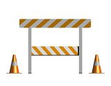 isolated construction and caution sign with traffic cones poster