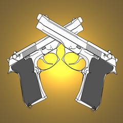 3d guns with spotlight background