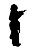 Silhouette With Clipping Path of Martial Arts Boy
