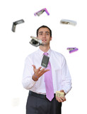 Businessman juggling his office tools poster