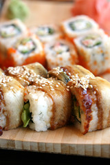 The Japanese kitchen. Sushi end rolls