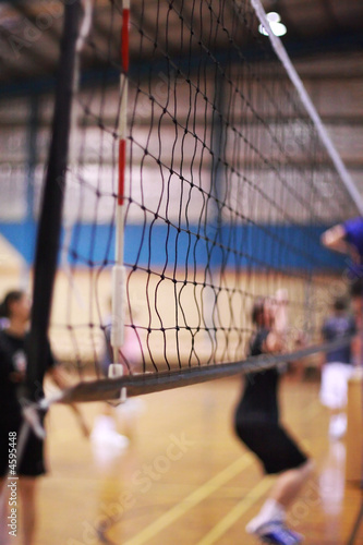 Indoor Volleyball court with players