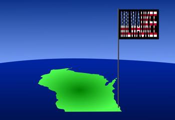 Milwaukee on  Wisconsin map