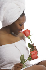 woman in towels with roses