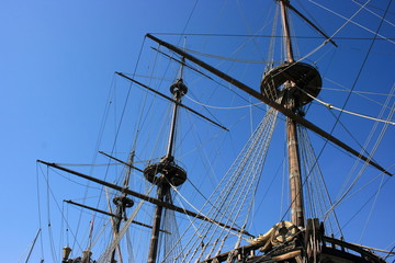 Masts of ancient battleship