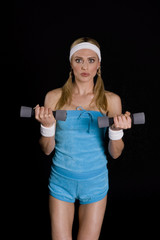 Woman execising with weights